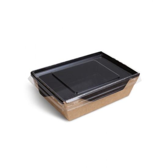 Контейнер бумажный 350мл с плоской PET крышкой | Крафт/Черная 1PE 121*106*55мм