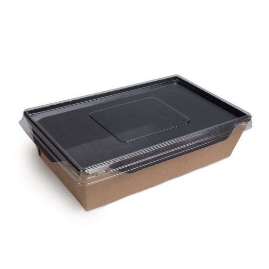 Контейнер бумажный 1000мл с плоской PET крышкой | Крафт/Черная 1PE 220*160*55мм