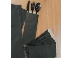 Пакет для столовых приборов 220*90мм черный (внутри крафт)