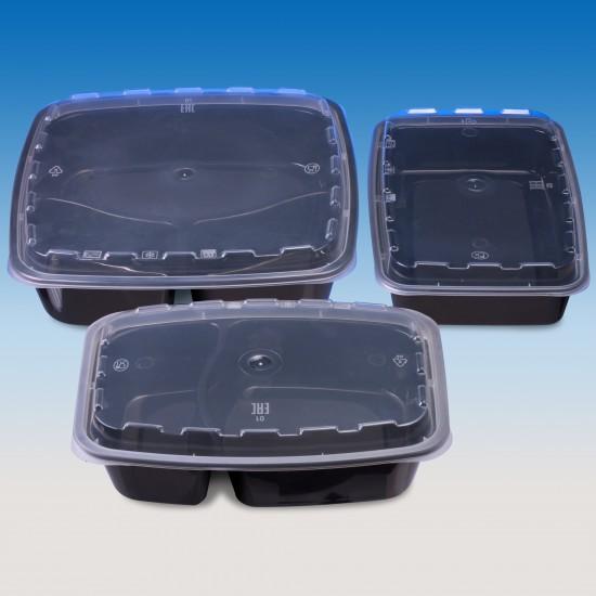 Контейнер ланч-бокс PP 1400мл 3-х секционный | Черный с крышкой 229*229*51мм
