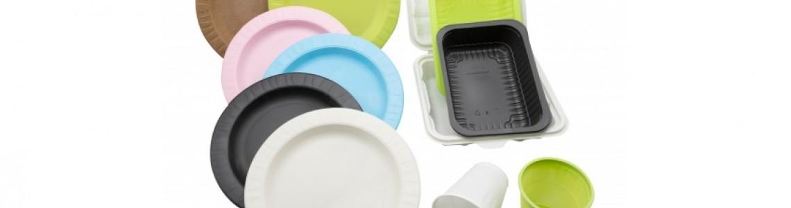 Биоразлагаемые тарелки из кукурузного крахмала различных цветов!