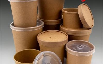 Контейнеры для супа с крышками: крафт и полипропилен