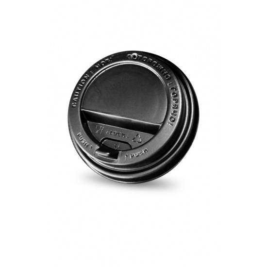 Крышка с питейником PS Ø=90мм | Черная для стаканчиков