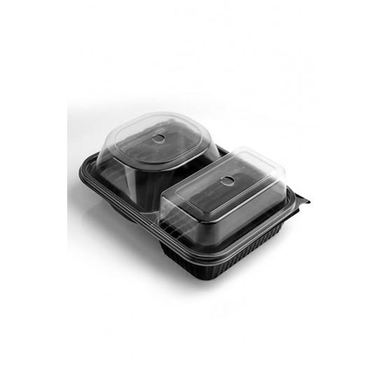 Контейнер РР для бургера и картофеля-фри с крышкой, черный 2-х секционный, 230*180*80мм