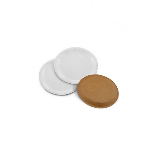 Тарелка бумажная крафт + BIO Ø=180мм, 1РЕ (белая)