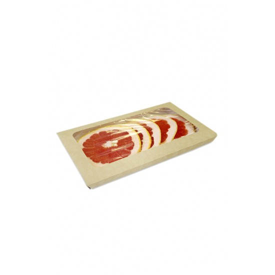 Крышка-конверт крафт с окошком для лотка, 200*110*20мм, 400мл, 1РЕ крафт