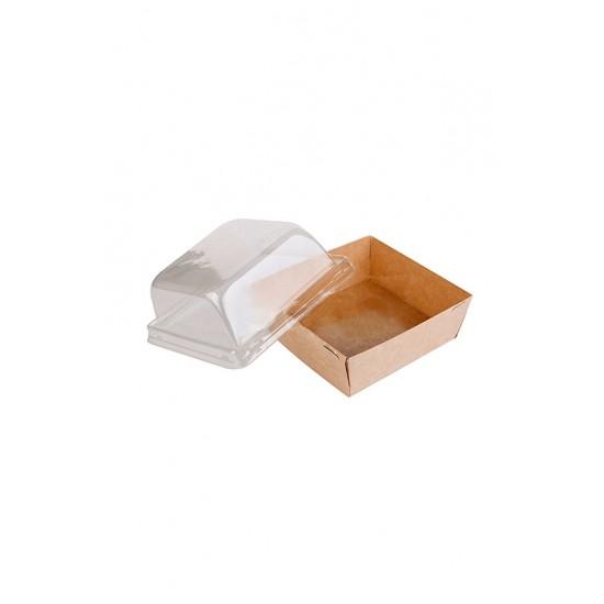 Контейнер бумажный 550мл с купольной PET крышкой | Крафт 1PE 128*128*45мм