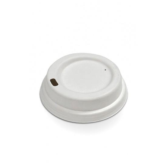 Крышка из сахарного тростника Ø=80мм | Белая для бумажных стаканов