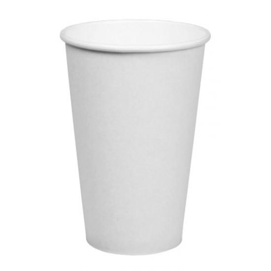 Стакан бумажный 1РЕ одностенный белый 450мл (16oz) Ø=90мм, h=135мм