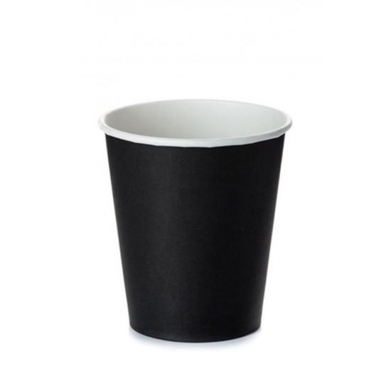 Стакан бумажный 1РЕ одностенный черный 230мл (8oz) Ǿ=77мм, h=90мм