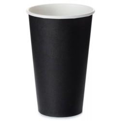 Стакан бумажный 1РЕ одностенный черный 450мл (16oz) Ǿ=90мм, h=135мм