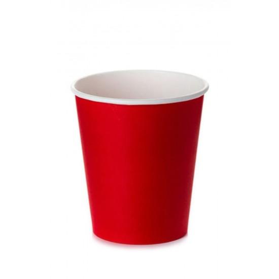 Стакан бумажный однослойный 175мл   Красный Ø=69мм, h=83мм