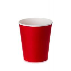 Стакан бумажный 1РЕ одностенный красный 230мл (8oz)  Ǿ=77мм, h=90мм