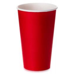 Стакан бумажный 1РЕ одностенный красный 450мл (16oz) Ǿ=90мм, h=135мм
