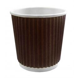 Стакан бумажный гофрированный коричневый 185мл Ǿ=72мм, h=72мм