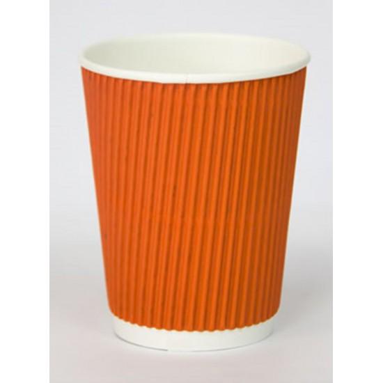 Стакан бумажный гофрированный оранжевый 250мл Ǿ=80мм, h=89мм