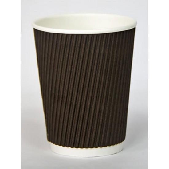 Стакан бумажный гофрированный коричневый 250мл Ǿ=80мм, h=89мм