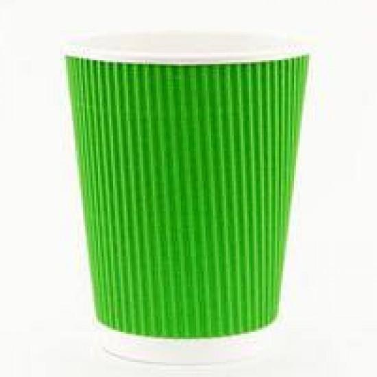 Стакан бумажный гофрированный зеленый 250мл Ǿ=80мм, h=89мм
