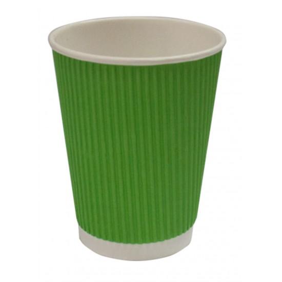 Стакан бумажный гофрированный 350мл | Зеленый с Белой стенкой Ø=90мм, h=110мм