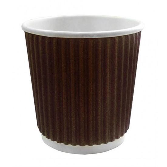 Стакан бумажный гофрированный коричневый 110мл Ǿ=61мм, h=55мм