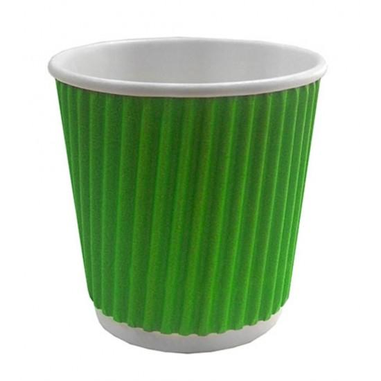 Стакан бумажный гофрированный 110мл   Зеленый с Белой стенкой Ø=61мм, h=55мм