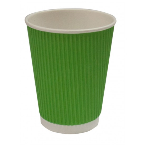 Стакан бумажный гофрированный зеленый 450мл Ǿ=90мм, h=140мм