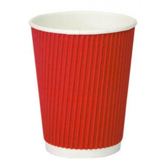 Стакан бумажный гофрированный красный 250мл Ǿ=80мм, h=89мм