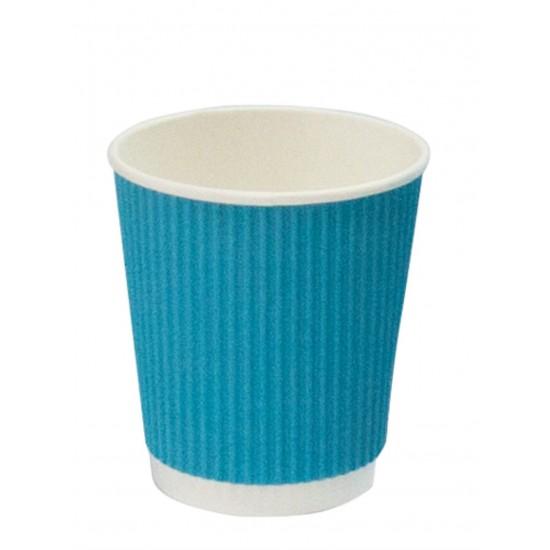Стакан бумажный гофрированный голубой 250мл Ǿ=80мм, h=89мм