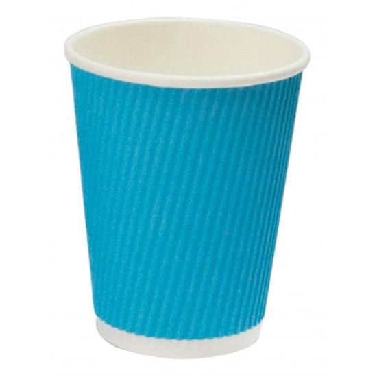 Стакан бумажный гофрированный 350мл   Голубой с Белой стенкой Ø=90мм, h=110мм