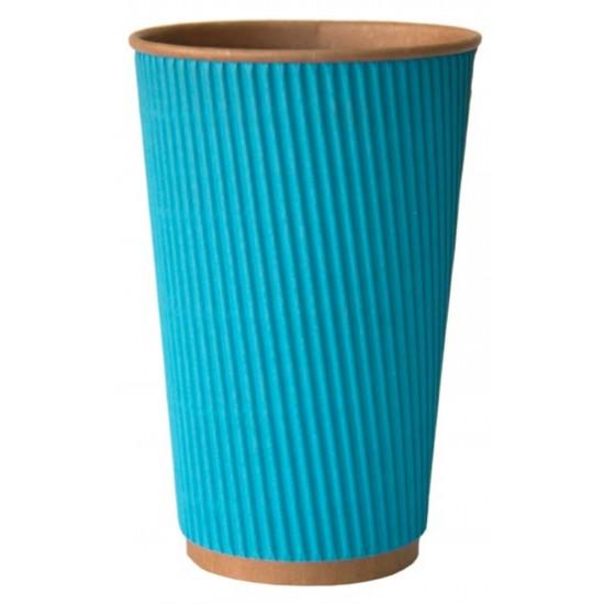 Стакан бумажный гофрированный 450мл | Голубой на Крафт стенке Ø=90мм, h=140мм