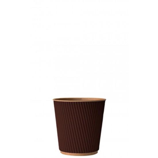 Стакан бумажный гофрированный коричневый на крафтовой стенке 110мл Ǿ=61мм, h=55мм