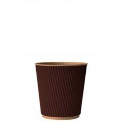 Стакан бумажный гофрированный коричневый на крафтовой стенке 185мл Ǿ=72мм, h=72мм