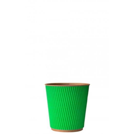 Стакан бумажный гофрированный 110мл | Зеленый на Крафт стенке Ø=61мм, h=55мм