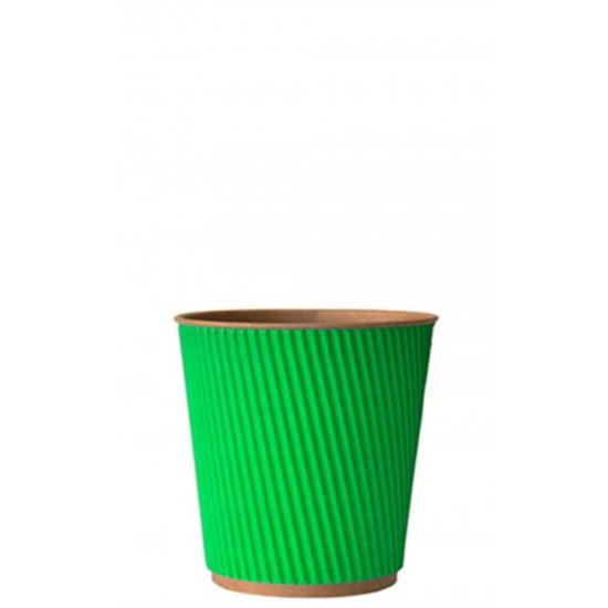 Стакан бумажный гофрированный зеленый на крафтовой стенке 185мл Ǿ=72мм, h=72мм