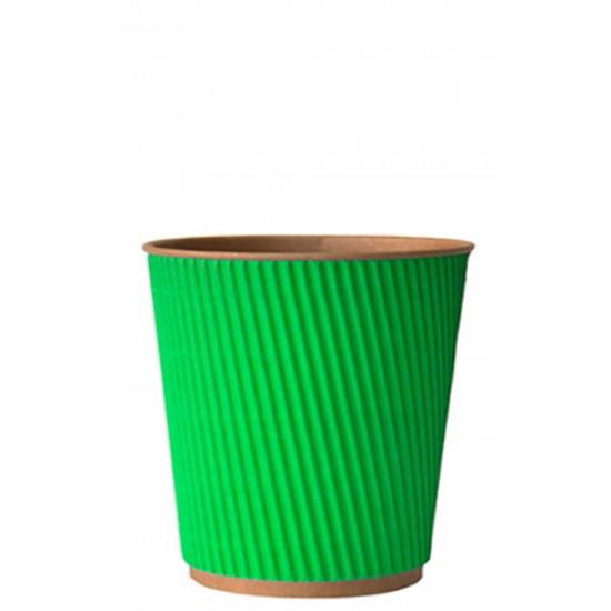 Стакан бумажный гофрированный 250мл   Зеленый на Крафт стенке Ø=80мм, h=89мм