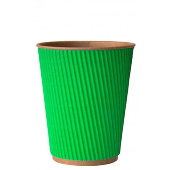 Стакан бумажный гофрированный зеленый на крафтовой стенке 350мл Ǿ=90мм, h=110мм