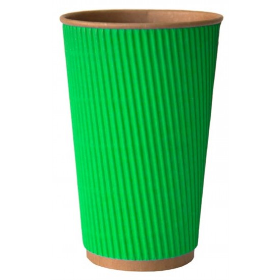 Стакан бумажный гофрированный 450мл | Зеленый на Крафт стенке Ø=90мм, h=140мм