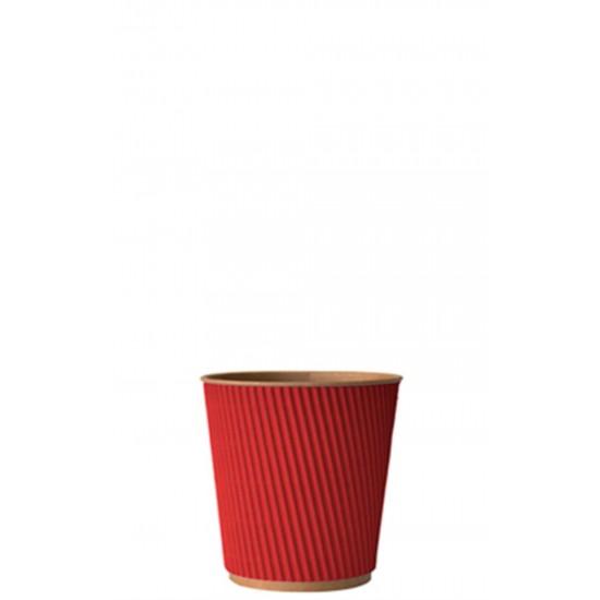 Стакан бумажный гофрированный красный на крафтовой стенке 110мл Ǿ=61мм, h=55мм