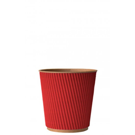 Стакан бумажный гофрированный 185мл | Красный на Крафт стенке Ø=72мм, h=72мм