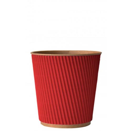 Стакан бумажный гофрированный красный на крафтовой стенке 250мл Ǿ=80мм, h=89мм