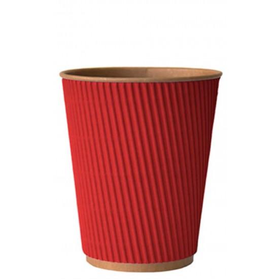 Стакан бумажный гофрированный красный на крафтовой стенке 350мл Ǿ=90мм, h=110мм