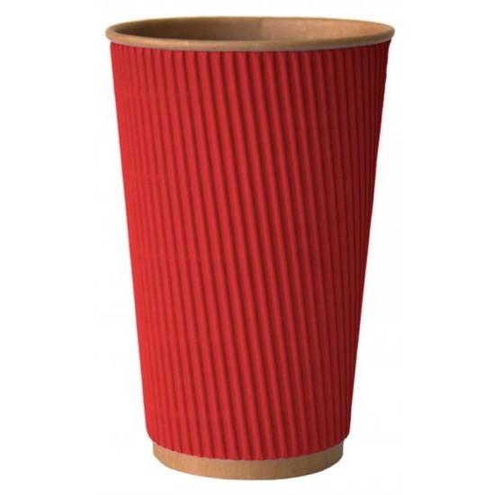 Стакан бумажный гофрированный 450мл | Красный на Крафт стенке Ø=90мм, h=140мм