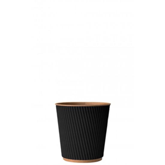 Стакан бумажный гофрированный 110мл | Черный на Крафт стенке Ø=61мм, h=55мм