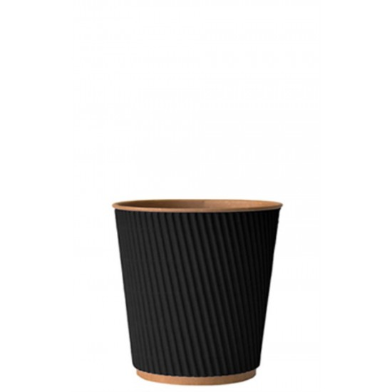 Стакан бумажный гофрированный 185мл | Черный на Крафт стенке Ø=72мм, h=72мм