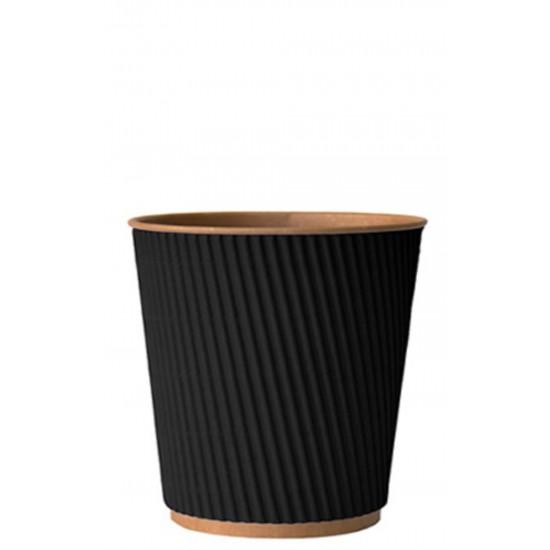 Стакан бумажный гофрированный 250мл | Черный на Крафт стенке Ø=80мм, h=89мм