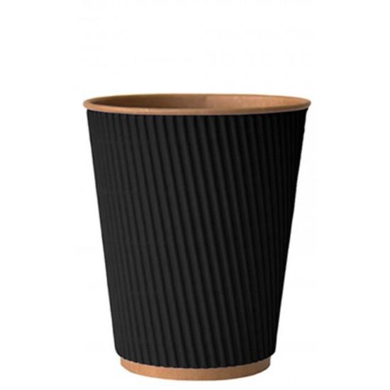 Стакан бумажный гофрированный черный на крафтовой стенке 350мл Ǿ=90мм, h=110мм