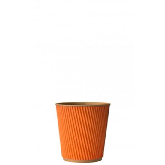 Стакан бумажный гофрированный оранжевый на крафтовой стенке 110мл Ǿ=61мм, h=55мм