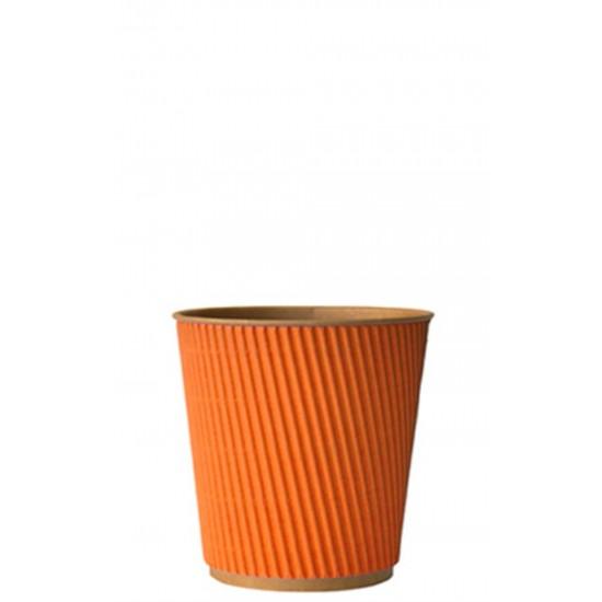 Стакан бумажный гофрированный оранжевый на крафтовой стенке 185мл Ǿ=72мм, h=72мм