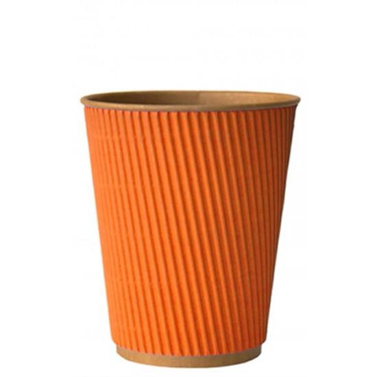 Стакан бумажный гофрированный оранжевый на крафтовой стенке 350мл Ǿ=90мм, h=110мм