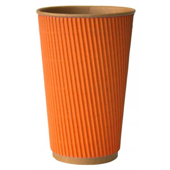 Стакан бумажный гофрированный 450мл | Оранжевый на Крафт стенке Ø=90мм, h=140мм